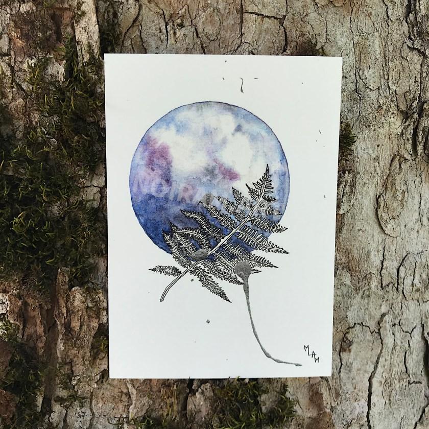 Aquarelle une infinité de possibles fougère violet planète plante mlam noiram marion-lorraine poncet carte