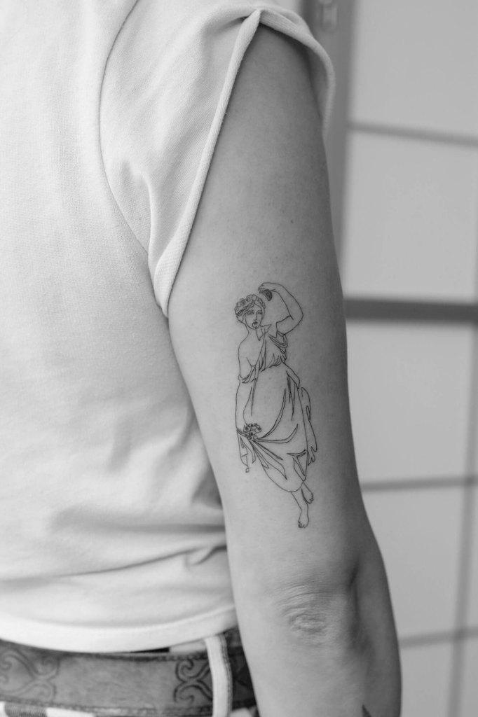 Oneliner Zeichnung der griechischen Göttin Persephone von Nadine Migesel.