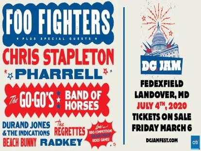 D.C. Jam,Foo Fighters,FedExField,begin on thursday march 5,12 pm et,