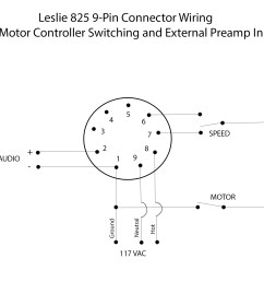 leslie 825 9 pin connector wiring with motor controller switching and external preamp input [ 2100 x 1500 Pixel ]