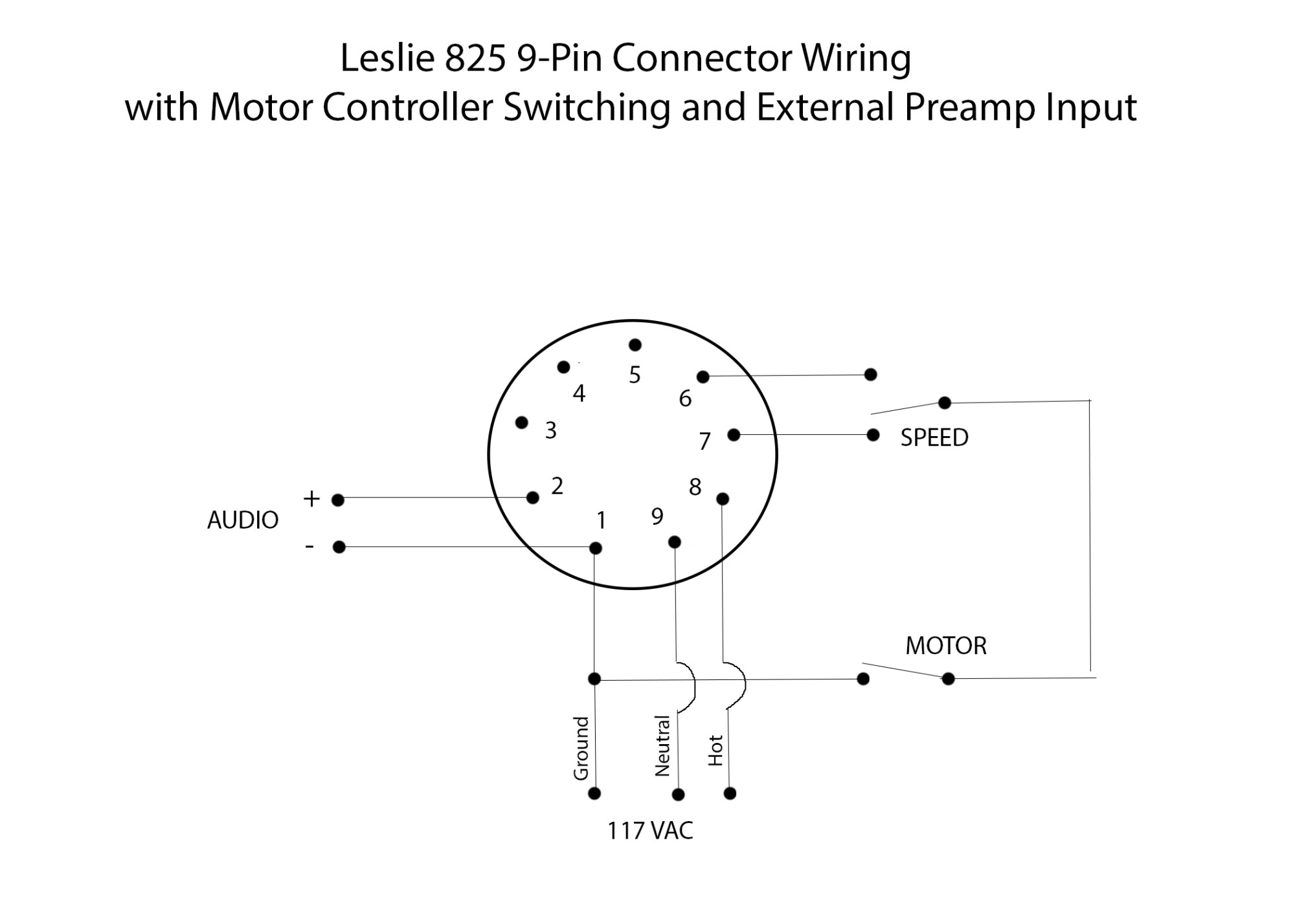 hight resolution of leslie 825 9 pin connector wiring with motor controller switching and external preamp input
