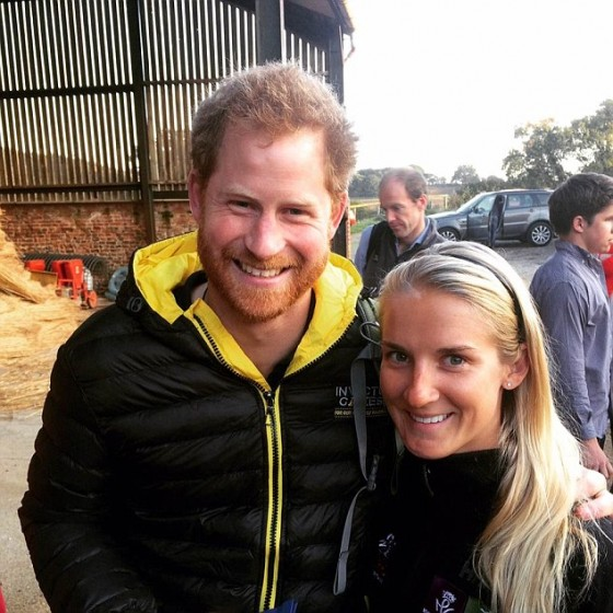 Kirstie Ennis, a 24 year-old Helicopter door gunner, pictured with Prince Harry is the only woman on The Walk Of Britain