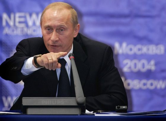 Russian President Vladimir Putin gestures at a conference of international news agencies and journalists in Moscow in September, discussing Iran's need for nuclear weapons.