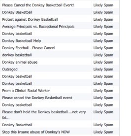 """Selection of donkey basketball emails from the list in the """"Junk Box Summary"""""""