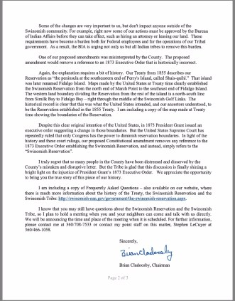 Screenshot photo (taken from SITC website), page 2, of January 30, 2017, letter signed by SITC Chairman Brian Cladoosby.