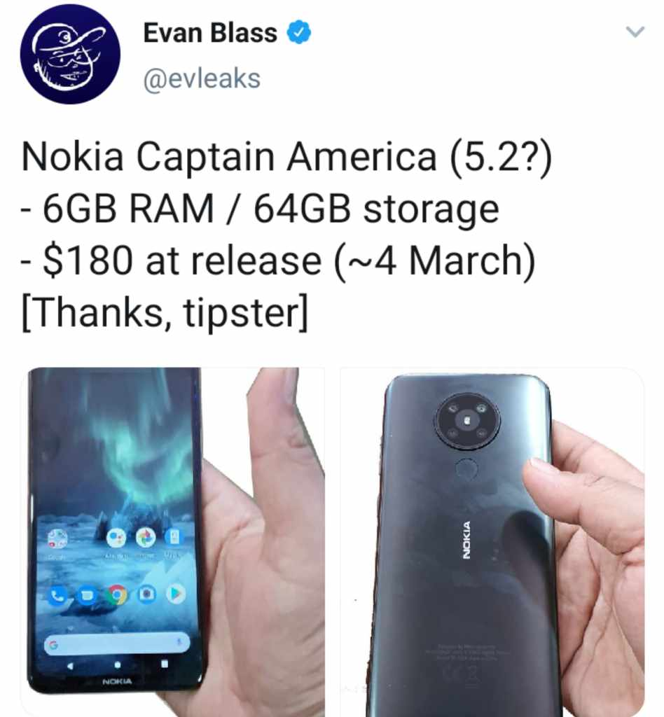 Image: Evleaks tweet showing new Nokia smartphone Captain America (5.2) with quad cameras on the back
