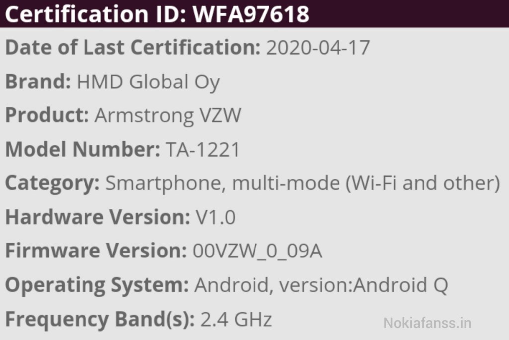 Image : Nokia Armstrong (TA-1221) on Wi-Fi certification