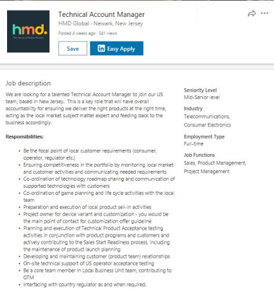 HMD Global Technical Account Manager