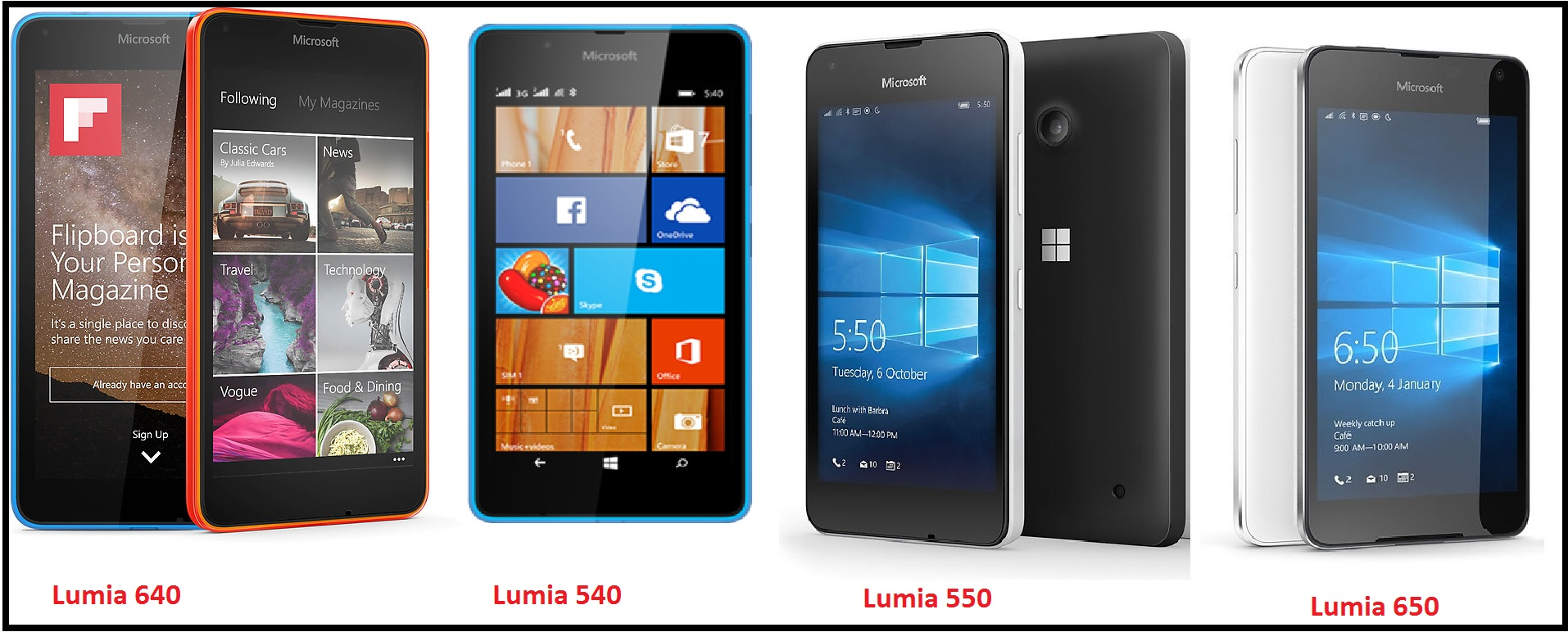 Lumia 550 vs Lumia 650 vs Lumia 640 vs Lumia 540