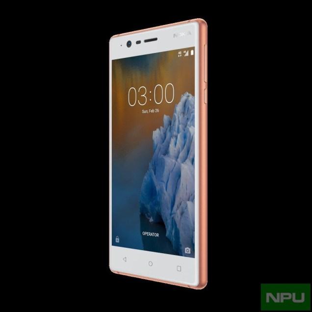 Nokia 3 Copper White front