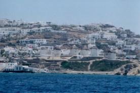 Windmills dot the Mykonos coastline.