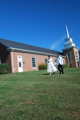 The happy couple at the church