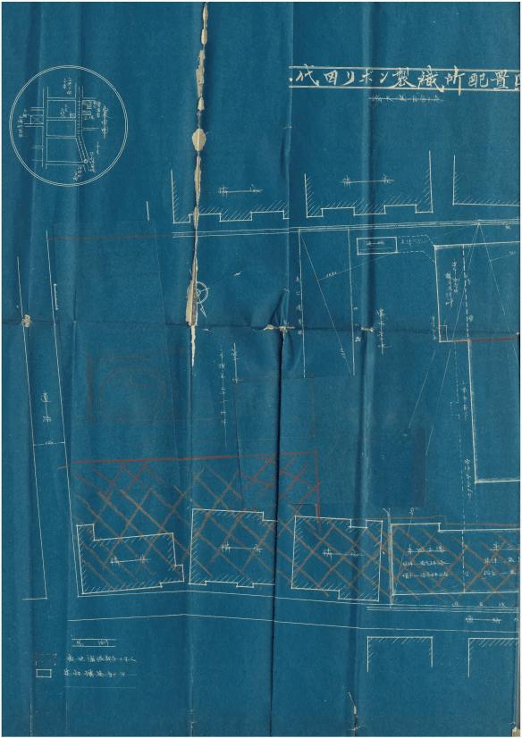 千代田リボン製織所配置図左(昭和2年)