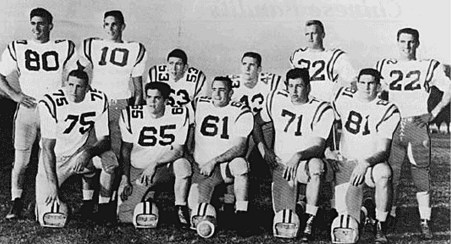 """The """"Chinese Bandits"""" defense of the 1958 national champion LSU Tiger football team. (Clarion Herald photo)"""