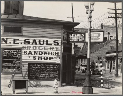 Walker Evans photo of a grocery in New Orleans, 1936. (FSA collection at NYPL, in the Public Domain)