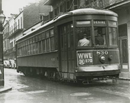 NOPSI 830 on Bourbon at St. Peter, 1947. (Courtesy the Thelma Hecht Coleman Memorial Collection, Southeastern Architectural Archive, Special Collections Division, Tulane University Libraries)
