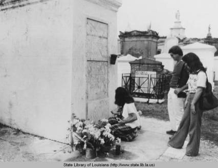 """Tomb of Marie Laveau"", 1970s, unknown photographer (State Office of Tourism, in the public domain)"