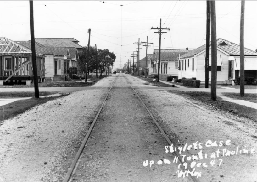 Looking down N. Tonti at Pauline Street, 1947 (Franck photo courtesy HNOC)