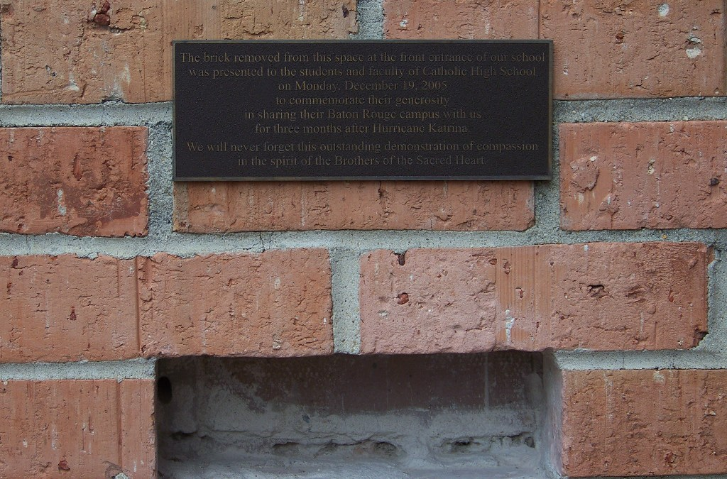 """The Brick"" from Brother Martin given to Catholic High in Baton Rouge"
