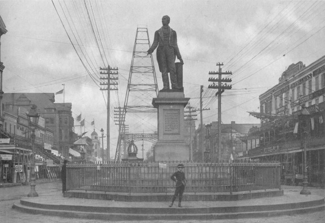 Henry Clay and Moonlight Towers on Canal Street