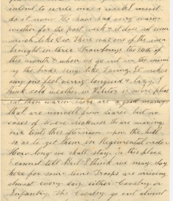 Letter from William A. Smith to his wife, Caroline, 1862-12-29