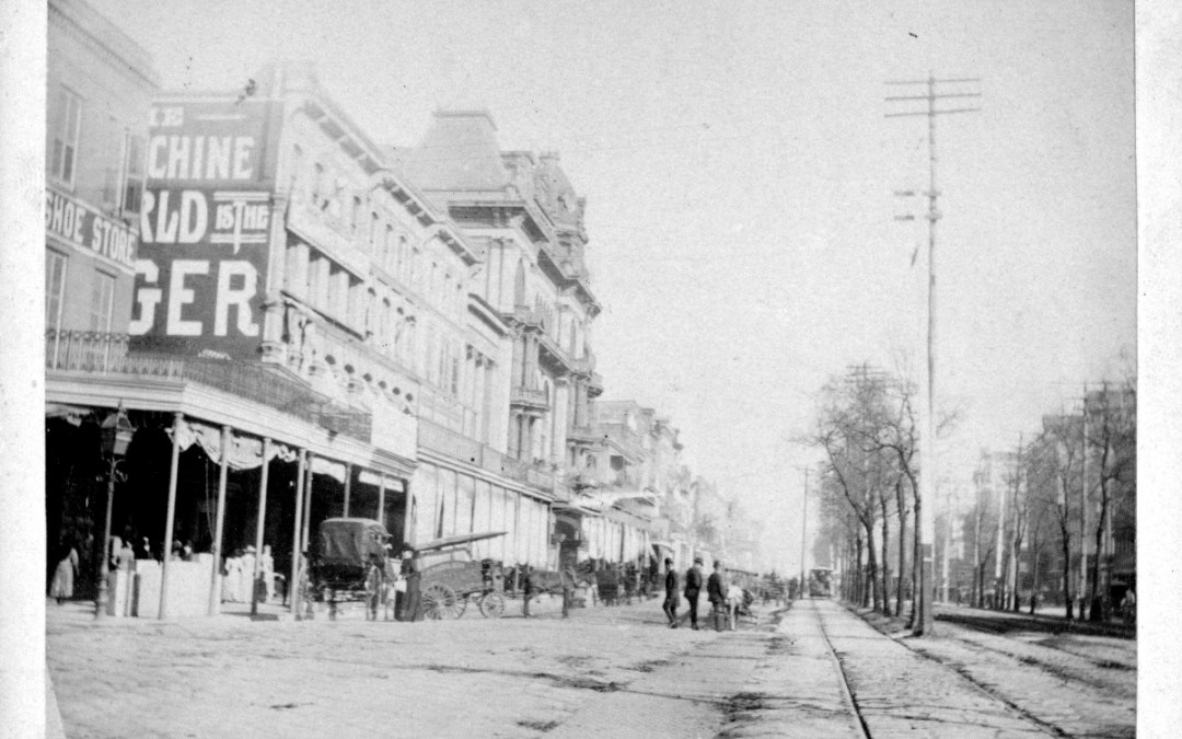 Chartres Street at Canal Street, 1890-91 – Bobtails and Wall Ads