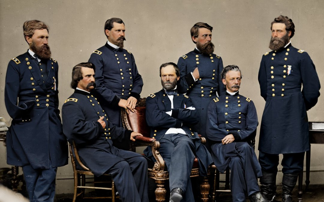 Colorized Sherman – William Tecumseh Sherman and staff