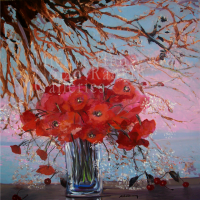 "Cerises et Coquelicots | NR3895 | 100cm x 100cm: 39.5"" x 39.5"" 