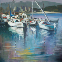 Henri-Dominique Port de peche Palamor |NR4084 | 25 Paysage: 31.875 in. x 23.625 in. |Henri-Dominique | Oil on Canvas | Nolan-Rankin Galleries - Houston