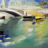 "NR5036 Pont Alexandre III 20 Figure (28.75"" x 23.5"") Conchita Conigliano Oil on Canvas | Nolan-Rankin Galleries - Houston"