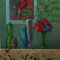 "Nature Morte aux 4 Vases NR1456 20 Figure: 28.75"" x 23.5"" Marie-Amelie Choi Oil on Canvas 