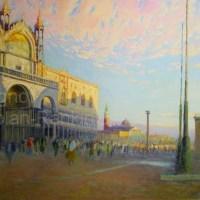 "Place St. Marc | NR2300 | 30 Figure: 36.25"" x 28.75"" | Daniel Pignot | Oil on Canvas | Nolan-Rankin Galleries - Houston"