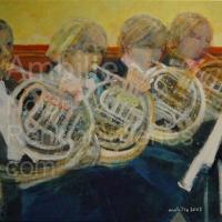 "Les Cors NR2600 40 Figure: 39.5"" x 31.75"" Paul Ambille Oil on Canvas | Nolan-Ranin Galleries - Houston"