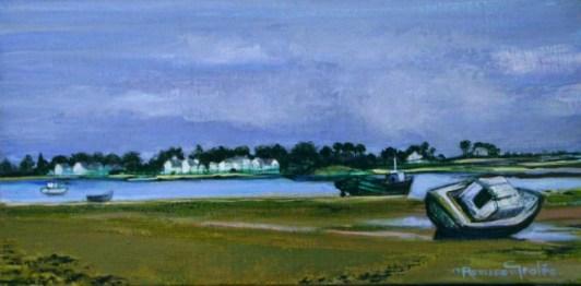 "La Barque Couchee   NR2879   40cm x 20cm: 15.75"" x 7.75""   Nicole Rousseau-Grolee   Oil on Canvas   Nolan-Rankin Galleries - Houston"