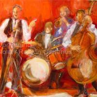 "Jazz rouge NR3232A 15 Figure: 25.5"" x 21.25"" Conchita Conigliano Oil on Canvas | Nolan-Rankin Galleries - Houston"