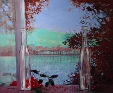 """Le deux fleurs aux erables rouges   NR3251A   25 Figure: 31.75"""" x 25.5""""   Michel-Henry   Oil on Canvas  Nolan-Rankin Galleries - Houston"""