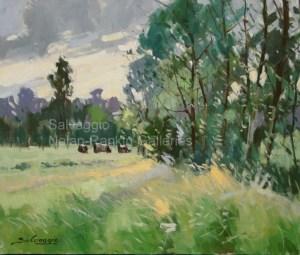 """L'Ete NR3350 10 Figure: 21.5"""" x 18.25"""" Jose Salvaggio Oil on Canvas"""