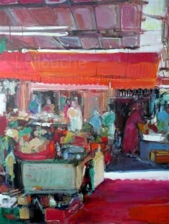 "Les Chariots   NR3563   30 Figure: 36.25"" x 28.75""   Michele Lellouche   Oil on Canvas   Nolan-Rankin Galleries - Houston"