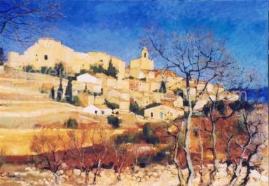 "Saint Martin de Castillon | NR3687 | 50 Paysage: 45.75 x 31.75"" | Pierre Neveu | Oil on Canvas | Nolan-Rankin Galleries - Houston"