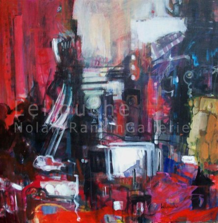 Ambiance de NY Rouge   NR3836   100cm x 100cm: 39.5 in. x 39.5 in.   Michele Lellouche   Oil on Canvas   Nolan-Rankin Galleries - Houston