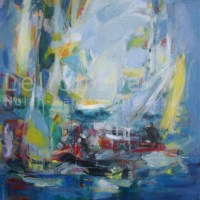 Les Voiles | NR3837 | 30 Figure: 36.25 in. x 28.75 in. | Michele Lellouche | Oil on Canvas | Nolan-Rankin Galleries - Houston