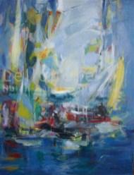 Les Voiles   NR3837   30 Figure: 36.25 in. x 28.75 in.   Michele Lellouche   Oil on Canvas   Nolan-Rankin Galleries - Houston
