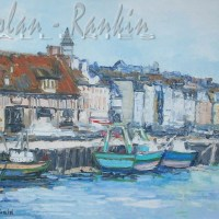 Renee Theobald NR0270 Bateaux de peche a Trouville 30 Figure Oil on Canvas | Nolan-Rankin Galleries - Houston