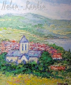 """X4S6 A Vetheuil 15 Figure: 25 9/16"""" x 21 1/4"""" Renee Theobald Oil on Canvas - Palette Knife"""