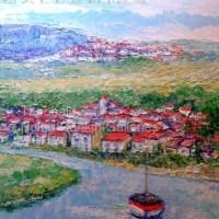 """X5S6 Dans la Valee de l'Yonne 25 Figure: 31 7/8"""" x 25 9/16"""" Renee Theobald Oil on Canvas - Palette Knife"""