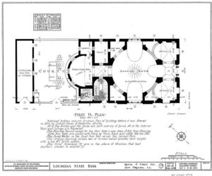 Interior drawing, prepared for HABS.