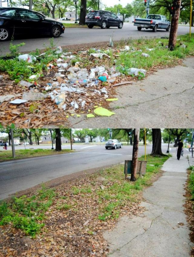 Before and After: Looking southwest along the Jeff Davis Parkway where it intersects with Tulane Ave. (Jefferson Davis Pkwy and D'Hemecourt St.)