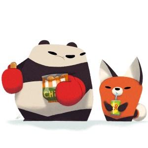 Punching Panda and Handy Panda