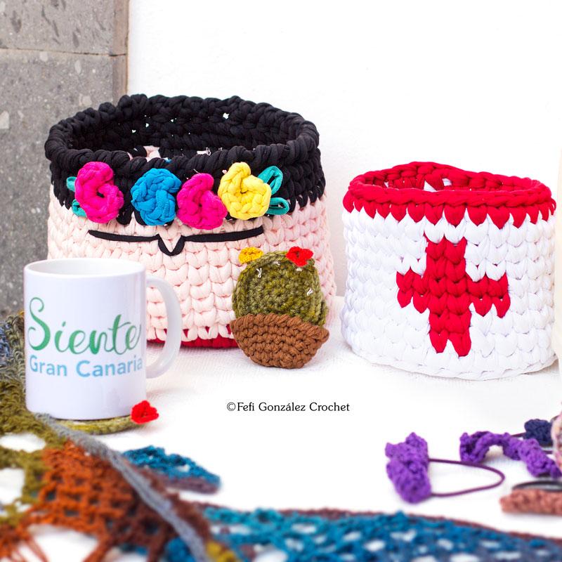cesto Frida hecho a crochet por Fefi González