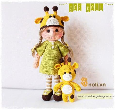 Hướng dẫn móc búp bê hươu Amigurumi Zoe Doll
